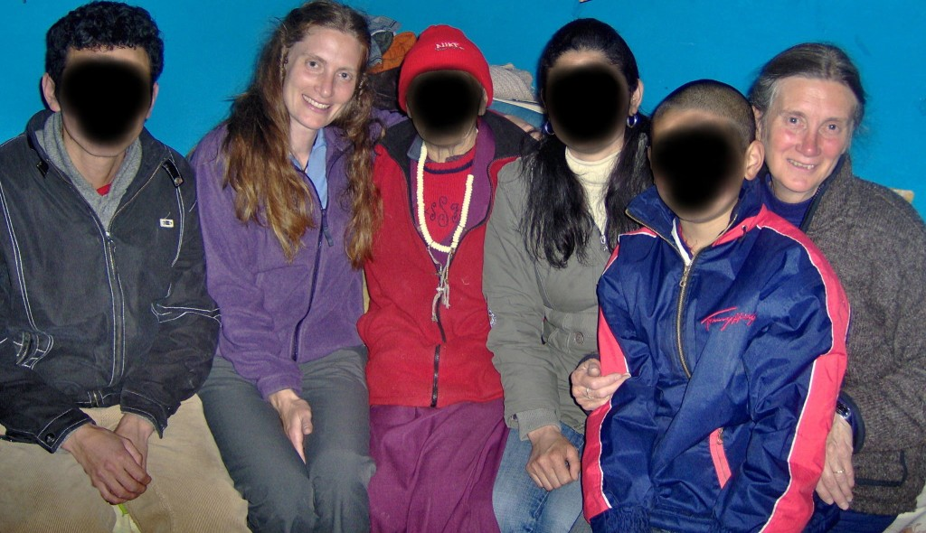 Liesel and Rosemarie with a Tibetan refugee family that had recently escaped to India.