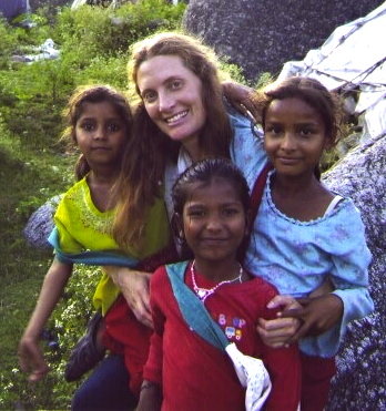 Rosemarie in India celebrating the completion of a class project.